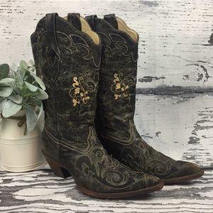 Corral Boots • Black Vintage Lizard • Sz 10.5